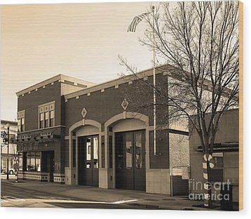Historic Niles District In California Near Fremont . Niles Fire Station Number 2 . 7d10732 . Sepia Wood Print by Wingsdomain Art and Photography