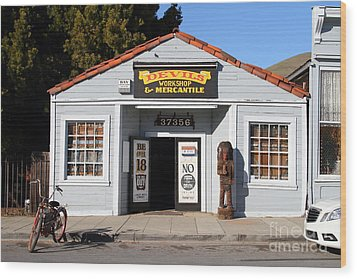 Historic Niles District In California.motorized Bike Outside Devils Workshop And Mercantile.7d12727 Wood Print by Wingsdomain Art and Photography