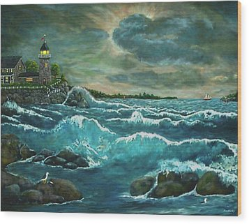 Hobson's Lighthouse Wood Print by Ave Hurley