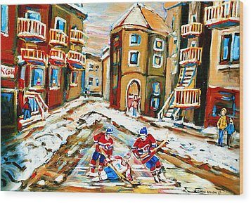Hockey Art Hockey Game Plateau Montreal Street Scene Wood Print by Carole Spandau
