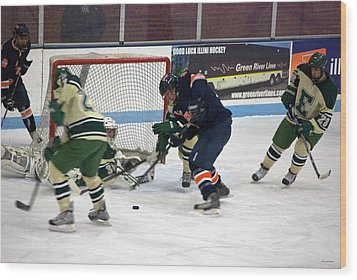 Hockey One On Four Wood Print by Thomas Woolworth