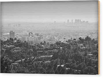 Hollywood From Above Wood Print by Ricky Barnard