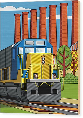 Homestead Stacks Wood Print by Ron Magnes