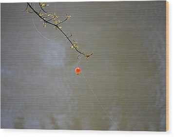 Hooked The Big One Wood Print by Kelly Rader