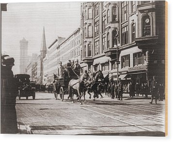 Horse-drawn Fire Engines In Street Wood Print by Everett