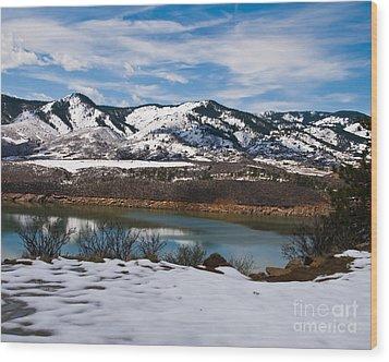 Horsetooth Reservoir Winter Scene Wood Print by Harry Strharsky