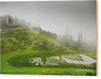 House And Fog Wood Print by Syed Aqueel