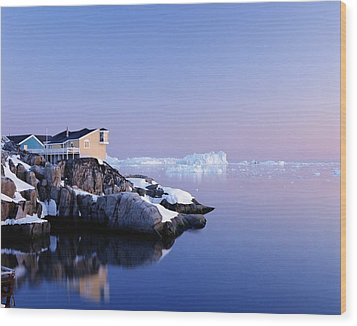Houses On The Coastline With Icebergs Wood Print by Axiom Photographic
