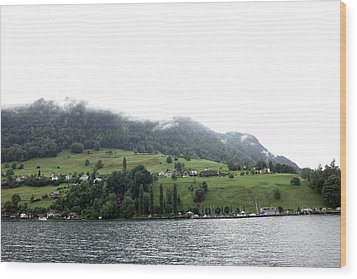 Houses On The Greenery Of The Slope Of A Mountain Next To Lake Lucerne Wood Print by Ashish Agarwal