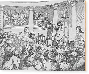 Humphrey Davy Lecturing, 1809 Wood Print by Science Source