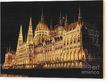 Hungarian Parliament Building Wood Print by Mariola Bitner