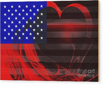 I Love America Wood Print by Wingsdomain Art and Photography