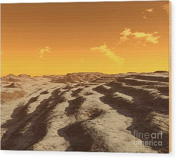 Illustration Of Terraced Terrain Wood Print by Ron Miller