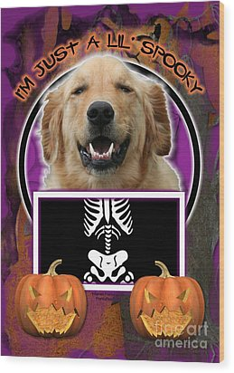 I'm Just A Lil' Spooky Golden Retriever Wood Print by Renae Laughner