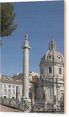 Imperial Fora With The Trajan's Column And The Church Santissimo Nome Di Maria.  Rome Wood Print by Bernard Jaubert