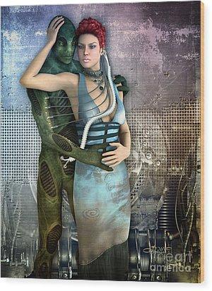 In Love With An Alien Wood Print by Jutta Maria Pusl
