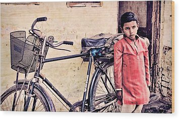 Indian Boy With Cycle Wood Print by Parikshat sharma