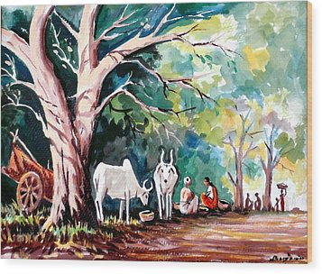Indian Village Wood Print by Benjamin Manohar