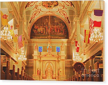 Inside St Louis Cathedral Jackson Square French Quarter New Orleans Accented Edges Digital Art Wood Print by Shawn O'Brien