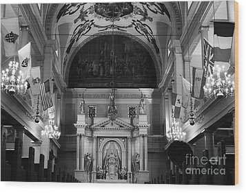 Inside St Louis Cathedral Jackson Square French Quarter New Orleans Black And White Wood Print by Shawn O'Brien
