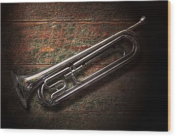 Instrument - Horn - The Bugle Wood Print by Mike Savad