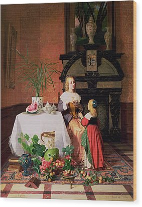 Interior With Figures And Fruit Wood Print by David Emil Joseph de Noter