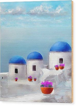 Into The Heavens Santorini Wood Print by Larry Cirigliano