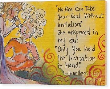 Invitation In Hand Wood Print by Ilisa  Millermoon