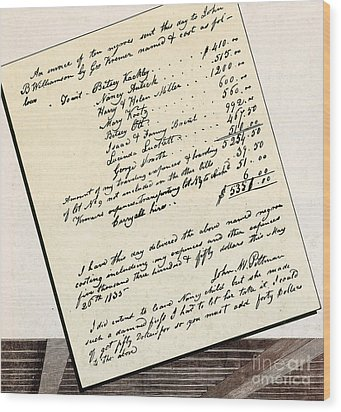Invoice Of A Sale Of Black Slaves Wood Print by Photo Researchers
