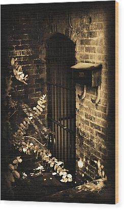 Iron Door Sepia Wood Print by Kelly Hazel