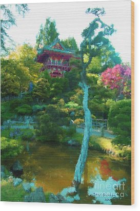 Japanese Tea Garden Temple Wood Print by Jerry Grissom