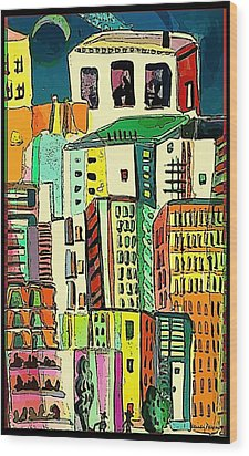 Jazz City Wood Print by Mindy Newman