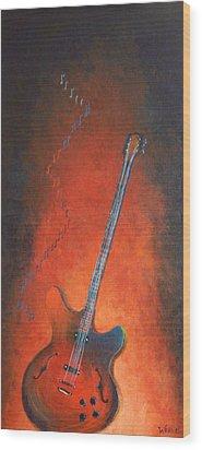 Jazz Guitar Wood Print by Bill Werle