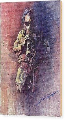 Jazz Miles Davis Maditation Wood Print by Yuriy  Shevchuk