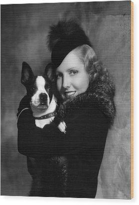 Jean Arthur With Boston Terrier, 1935 Wood Print by Everett