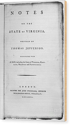 Jefferson: Title Page, 1787 Wood Print by Granger