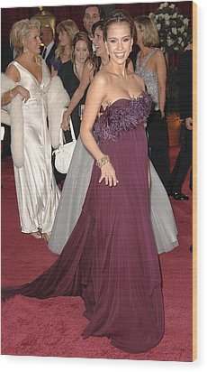 Jessica Alba Wearing A Marchesa Dress Wood Print by Everett
