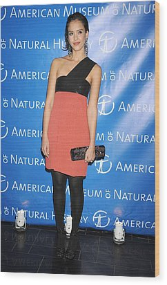 Jessica Alba  Wearing A Narciso Wood Print by Everett