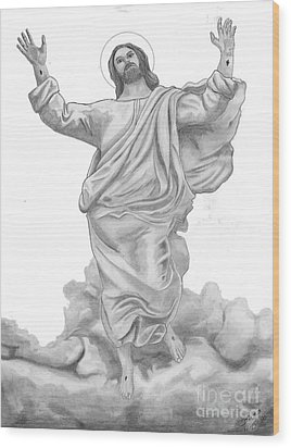 Jesus Approaches The Gates Of Heaven Wood Print by Calvert Koerber