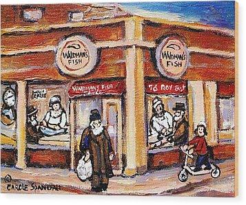 Jewish Montreal Vintage City Scenes Fish Market On Roy Street Wood Print by Carole Spandau