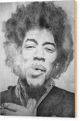 Jimi Hendrix - Medium Wood Print by Robert Lance