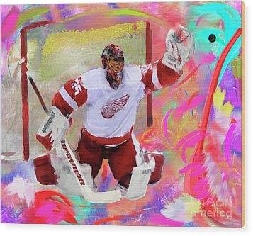 Jimmy Howard Wood Print by Donald Pavlica