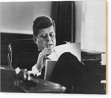 John F. Kennedy, In His Office Wood Print by Everett