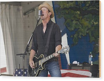 John Thomas Griffith Of Cowboy Mouth Wood Print by Terry Finegan