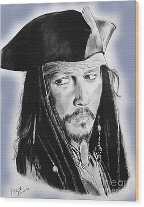 Johnny Depp As Captain Jack Sparrow In Pirates Of The Caribbean II Wood Print by Jim Fitzpatrick