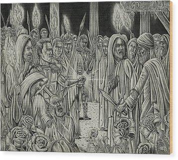 Judas In Garden Wood Print by Vincnt Clark