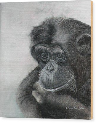 Just Thinking Wood Print by Sandra Sengstock-Miller