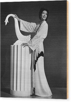 Kay Francis Modeling White-crepe Wood Print by Everett
