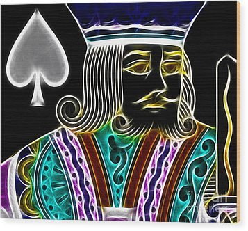 King Of Spades - V4 Wood Print by Wingsdomain Art and Photography