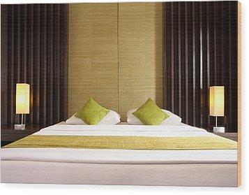 King Size Bed Wood Print by Atiketta Sangasaeng